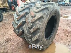 2x BKT 440 80 24 matbro JCB loadal manitou telehandler tyres cat 16.9 80 24