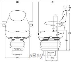 KAB 15/E6 12volt Air Seat Caterpillar JCB Manitou Matbro Merlo Terex Telehandler